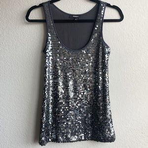 Express Grey Silver Sequin Party Tank Top XS